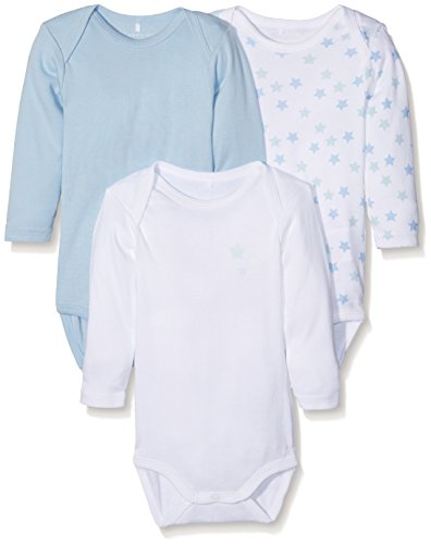 NAME IT Baby-Jungen NBMBODY 3P LS NOOS Body, Mehrfarbig (Cashmere Blue), 74...