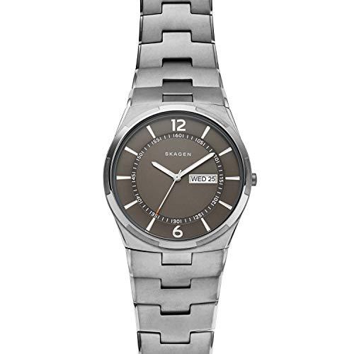 Skagen Herren Analog Quarz Uhr mit Edelstahl Armband SKW6504