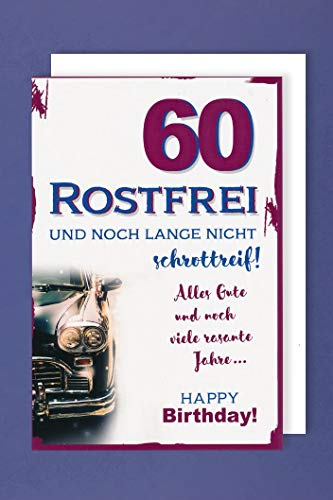 60 Geburtstag Karte Grußkarte Rostfrei Oldtimer 16x11cm
