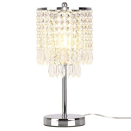 Dellemade Raindrop Silber Kristall Tischlampe für Schlafzimmer, Wohnzimmer, Mädchen Zimmer oder als Hochzeitsgeschenk