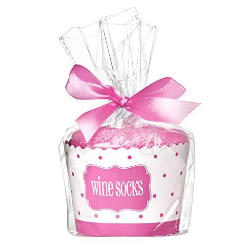 Comius Calcetines para Mujer, Calcetines de Vino,'If You Can Read This Bring Me Some Wine' con Envoltorio de Regalo de Cupcakes (Pink)