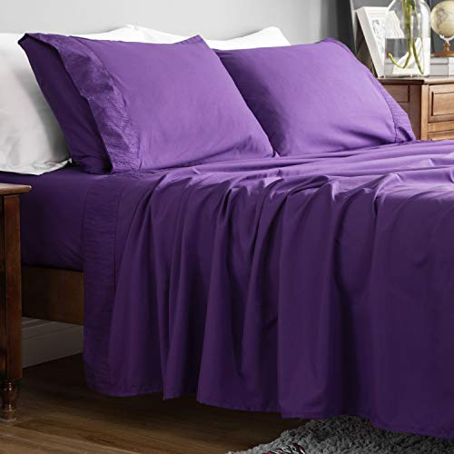 Bedsure Bed Sheet Set - Ruffled Embossed Bed Sheets - Soft Brushed Microfiber, Wrinkle Resistant Bedding Set - 1 Fitted Sheet, 1 Flat Sheet, 2 Pillowcases (Queen, Purple)