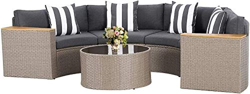 Oakmont 5 Pieces Patio Furniture Sectional Set, Outdoor Half-Moon Wicker Sofa Conversation Set with Cushions & Glass Coffee Table, for Patio, Garden, Backyards and Pools(Grey)