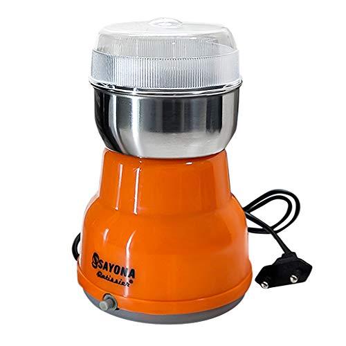 Dantazz Kaffeemühle 300W Elektrische Kaffeemühle Kaffeebohnen Nüsse Gewürze Getreide Mühle mit Edelstahlmesser-Orange (Orange)
