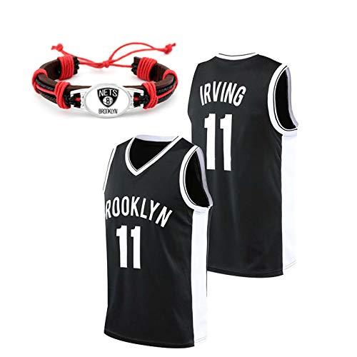 GAOXI Uniforme de Baloncesto sin Mangas de los Hombres, Temporada Regular versión Retro de la Ciudad de Irving Baloncesto Chaleco, Nets # 11 Player Jersey, Pulsera de Equi Black 11-L