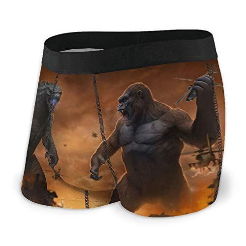 AMSYES (God-Zilla Vs. King Kong) Men's Boxer Briefs Short Sports Underwear for Boy Black