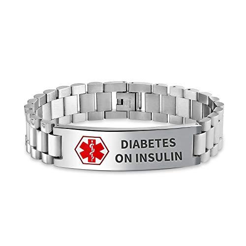 Bling Jewelry Diabete sull'identificazione dell'insulina Identificazione Medico ID Orologio Banda Link Braccialetto per Gli Uomini 8 Pollici Inossidabile Personalizzato inciso