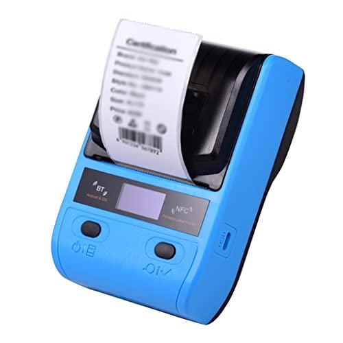 QYYBO Impresora térmica portátil de 58 mm Impresora Impresora de envío inalámbrica for envíos Paquete Precio de etiquetas Etiquetas USB NFC BT Conexión (Color : Blue)