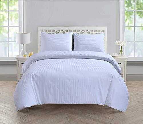 Linen Zone 300 Thread 100% Egyptian Cotton Satin Stripe Duvet Cover Set Hotel Quality, White - Single
