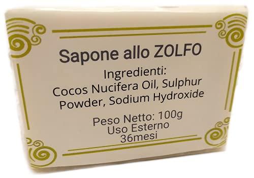 SenzaMa Sapone allo Zolfo Naturale e Artigianale Saponetta allo Zolfo Rinfrescante Astringente Ideale per Pelli Grasse Contro Acne, Dermatite, Rosacea, Forfora e Punti Neri