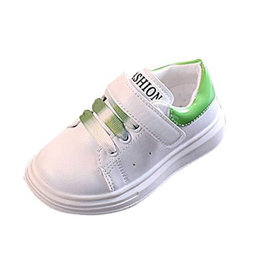 JERFER Kleinkind Mode Solide Sneaker Kind Mädchen Jungen Kleinkind Freizeitschuhe Sport Weiß Schuhe (30, Grün)