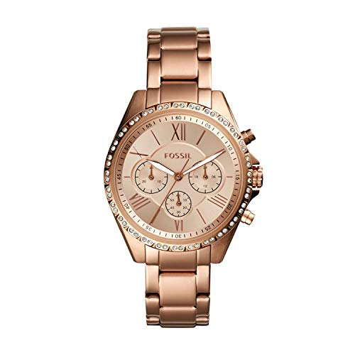 Fossil Women's Modern Courier Quartz Stainless Chronograph Watch, Color: Rose Gold (Model: BQ3377)