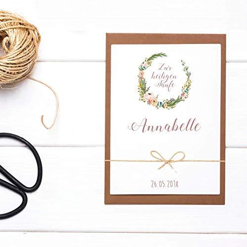Handgefertigte Glückwunschkarte zur Taufe - Personalisiert mit Name und Datum