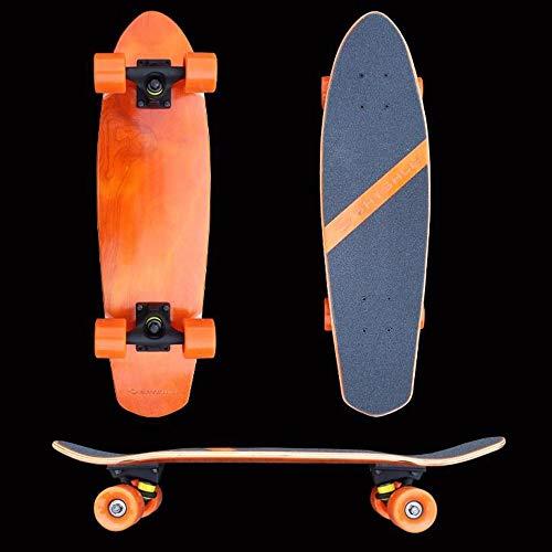 Hignful Teenager Skate Board Retro Cruiser Skateboard, Mini Cruiser Board Komplettes 27-Zoll Ahornholz Deck Skateboard for Anfänger Skate Penny Board Brush Street Tanzbrett Komplett Scooer,Orange