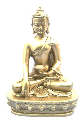 mytibetshop Buddha Statue, Earth Touching Buddha in Gold, Gold Buddha Statue Hand Painted by Himalayan Artisan