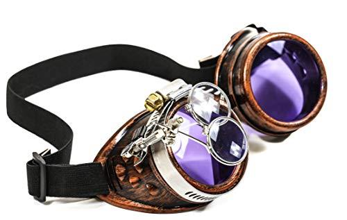 Copper Steampunk Victorian Style Goggles Colored Lenses & Ocular Loupe Mad Scientist (Purple)