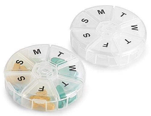 Wekelijkse Pill Organizer – (Pack van 2) 7 dagen pillen container, ronde geneeskunde organisator Box, dagelijkse week…