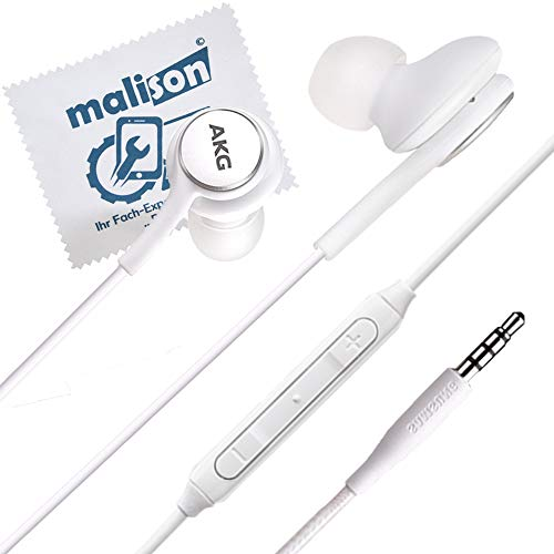 Stereo-In-Ear-Kopfhörer EO-IG955 für Original AKG Samsung Typ 3.5mm Klinke für Galaxy S8 / S8+ Plus / S9 / S9+ Plus / S10 / S10e / S10+ [mit maIison-Displayputztuch] (frustfreie Verpackung)(Weiß)
