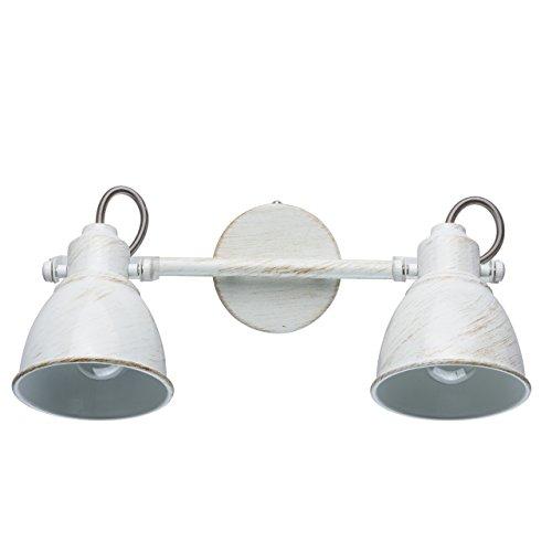 MW-Light 547021002 Retro Wandleuchte Wandspot 2 Flammig Weiß Kompakt E14 40W