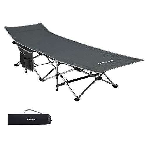 KingCamp Folding Camping Cot, Heavy Duty Design Holds Adults Portable and Ultra Lightweight Single Person Bed for Camp Office Indoor & Outdoor Use with Carry Bag Upgrade 75' x 26' Support 265lbs