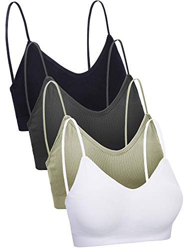4 Pieces V Neck Cami Bra Padded Seamless Bralette Straps Sleeping Bra for Women Girls (Large-X-Large, Seamless Style)