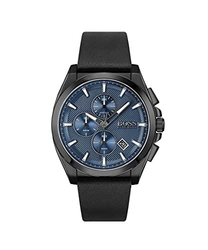 Hugo BOSS Herren analog Quarz Uhr mit Leder Armband 1513883