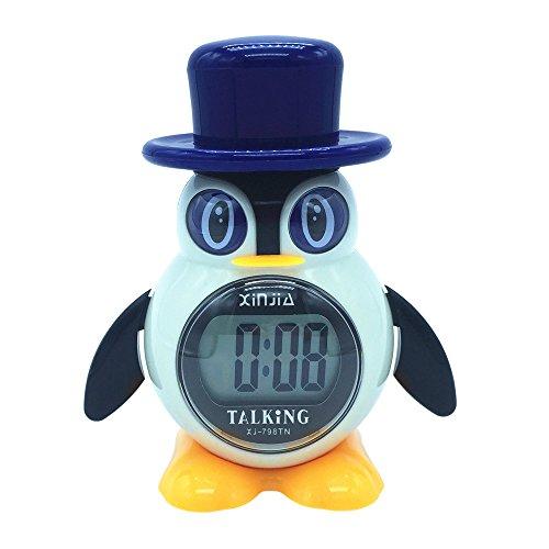 VISIONU Reloj Despertador Parlante en Español, Tipo pinguino, Alarma LCD con Voz, Reloj Hablando con Una Gran Pantalla Digital