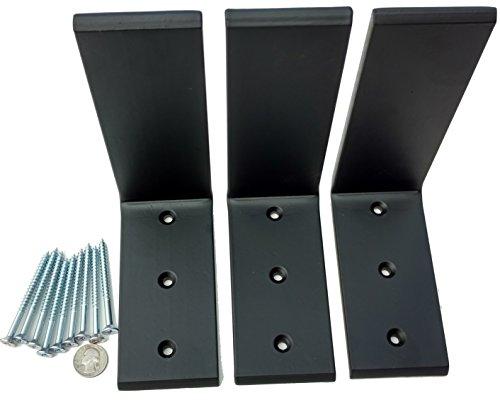 """3 Heavy Duty Black Steel 6"""" x 8"""" Countertop Support Brackets Corbel L Shelf"""
