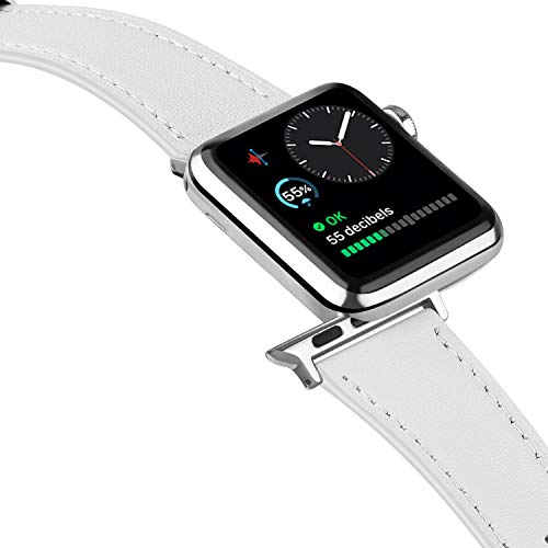 Tobfit Leather Bands Compatible with Apple Watch Band 38mm 40mm 42mm 44mm Women Men Compatible with iWatch SE Series 6 5 4 3 2 1, white, 42mm/44mm