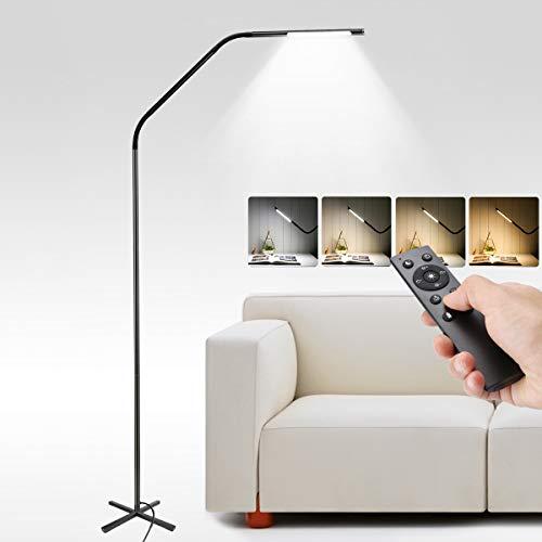 LE Stehlampe LED Dimmbar Stehleuchte mit Fernbedienung für Wohnzimmer Schlafzimmer Büro, hohe Lebensdauer von 50,000 Stunden, Standleuchte mit stufenlose Anpassung, Deckenfluter LED mit Leselampe