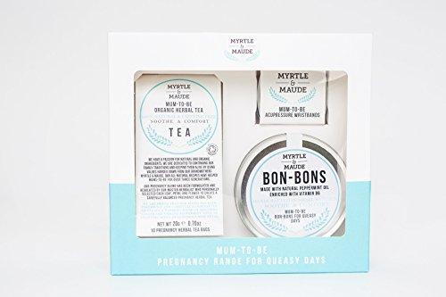 Myrtle & Maude Morning Sickness Pregnancy Pack - BLACK ACUPRESSURE WRIST BANDS & PREGNANCY BON-BONS & HERBAL TEA. Nausea, pregnancy sickness, natural