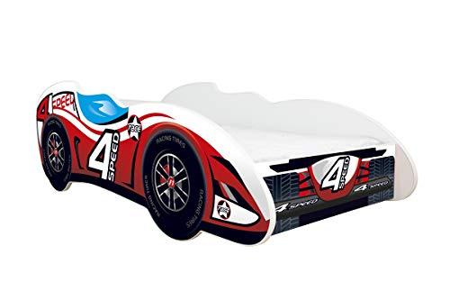 Topbeds - Cama infantil, diseño coche de carreras, colchón incluido, madera, 4 SPEED, 140 x 70 centimeters