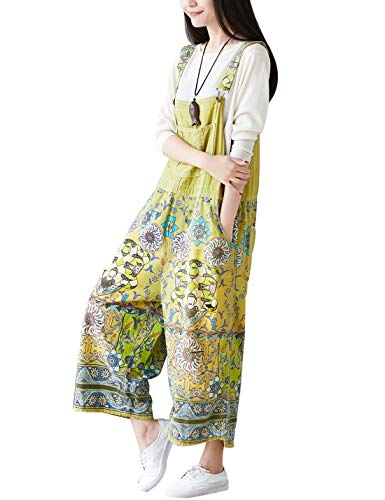 Yeokou Women's Loose Baggy Denim Wide Leg Drop Crotch Jumpsuit Rompers Overalls (One Size, Style 27 Green)