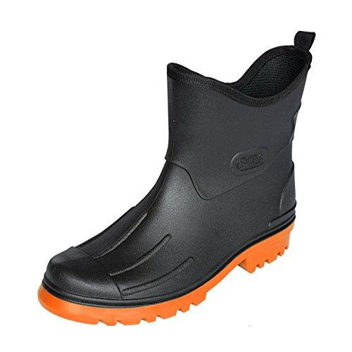 Bockstiegel Herren Jungen Peter PVC Gummistiefel - Schwarz mit Farbiger Sohle, Größe:44 EU, Farbe:Schwarz/Orange
