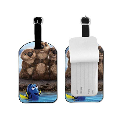 Finding Nemo Leather Lage Tags Suitcase Tag with Full Privacy Name ID Card Valise Bendable Tag
