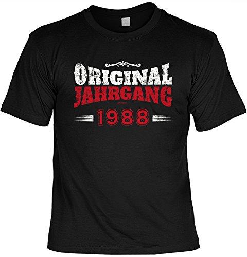 "Art & Detail Shirt - Camiseta divertida con texto en alemán ""Orignal Jahrgang 1988"" Negro XL"