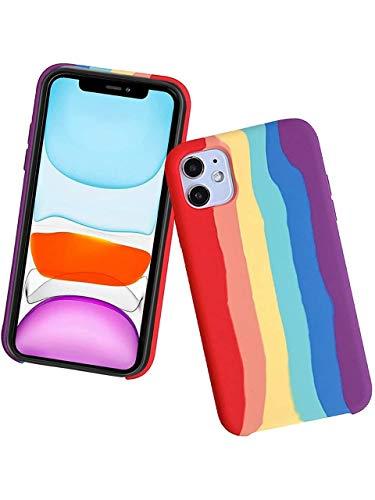 """Capa Case Capinha padrões de arco-íris, Proteção total de gel silicone líquido, à prova de choque, proteção contra quedas Para Iphone Novos Iphone 12 (iPhone XR (6.1""""))"""