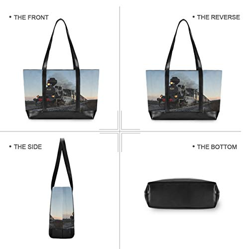 Hunihuni Laptop Tote Bag Steam Train Woman Large Capacity Canvas Shoulder Handbag fits 15.6 inch for Travel School Daily Use steampunk buy now online