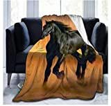 Fansu Kuscheldecke Flanell Decke, 3D Drucken Microfaser Flauschig Weich Warm Plüsch Wohndecke Fleece Tagesdecke Decke für Sofa & Bett (Pferd,150x200cm)