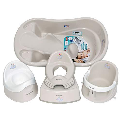 Set para niños. Una serie de cosas que son necesarias para el niño: bañera de bebé, asiento de bañera, asiento de inodoro para niños, orinal para niños, taburete de inodoro, gris