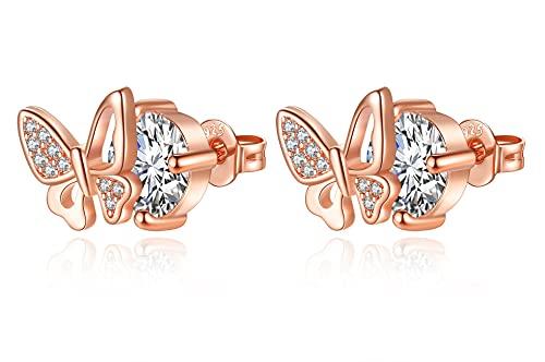 Pendientes de mariposa de oro rosa para niños, de plata de ley 925, modernos y bonitos, para adolescentes y niñas, bonito regalo de cumpleaños