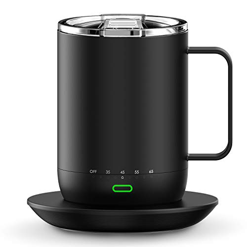 Smart Mug Warmer with Double Vacuum Insulation,VSITOO S3 Pro App Temperature Control Coffee Mug Warmer with Sliding Lid, 4-Hr Battery Life - 14oz - IPX7, Waterproof Design