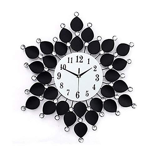 cjcaijun Reloj de Pared Forma Elegante Flor con el Taladro de Hierro y Cristal de la Sala Dormitorio Reloj de Pared