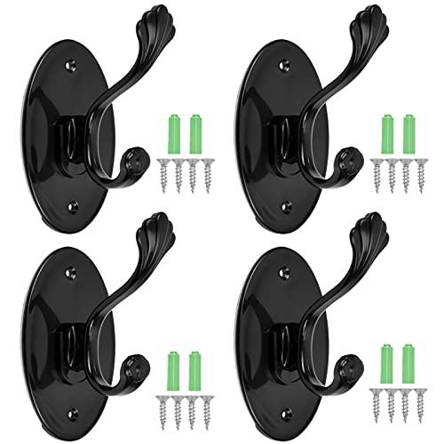 AvoDovA 4 Piezas Ganchos Adhesivos, Ultra Fuerte Perchero de Pared, Colgadores Perforación y autoadhesivo, Soporte de Pared para Toallas de Baño y cocina, Negro