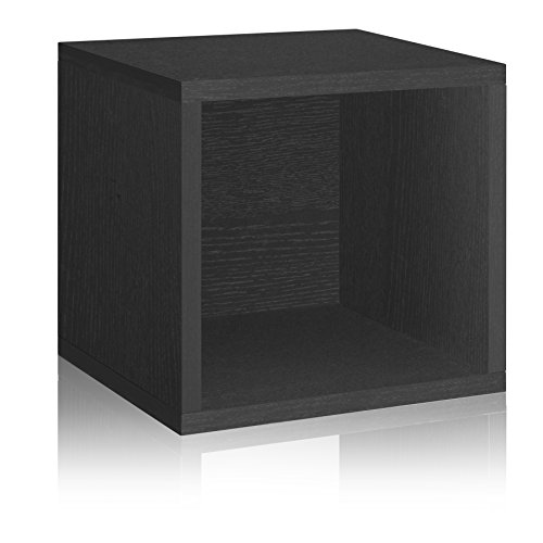 Way Basics Eco Stackable Storage Cube, Cubby Organizer (Tool-Free Assembly and Uniquely Crafted from Sustainable Non Toxic zBoard paperboard), Black Wood Grain