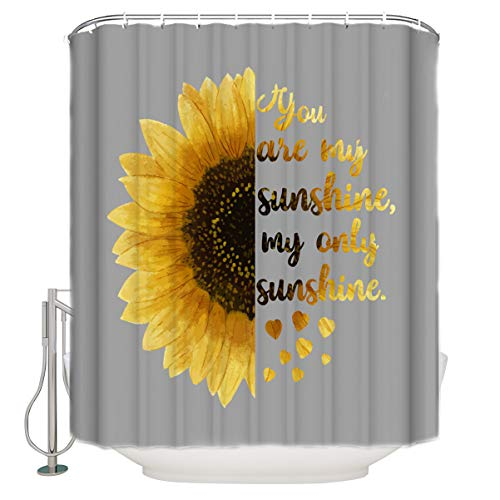 TocaHome Shower Curtain for Bathroom,You are My Sunshine,My Only Sunshine Cloth Fabric Bathroom Decor Set with Hooks Standard Size 66x72 Inch