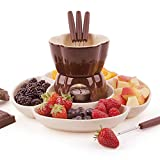 Ceramic Fondue Set Chocolate Fondue Pot Cheese Porcelain Melting Pots, with Tealight Candles, Melting Pot Fondue Set Kitchen Accessories, for Cheese Or Chocolate, Idea for Family Party