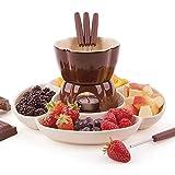 CHENSTAR Set fonduta in ceramica con candeline, set di fonduta di cioccolato e fonduta, accessori da cucina, per formaggio o cioccolato, idea per feste in famiglia