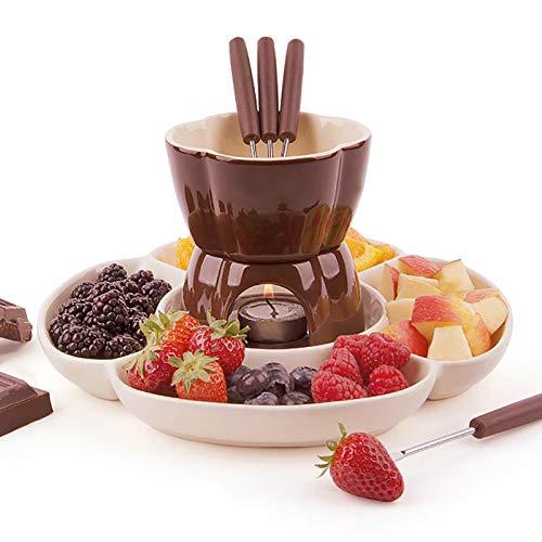 Juego de fondue de cerámica para chocolate, fondue o queso, ollas de...