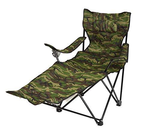 DUE ESSE DISTRIBUZIONI SRL Sedia Camping Pieghevole con poggiapiedi Color Verde Militare